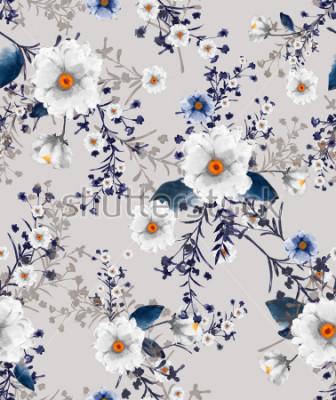 Fototapeta Pięknie bezszwowej akwareli z wzorem kwiatowym, delikatnym kwiatem, niebieskimi i niebieskimi kwiatami, kartka z motywem na jasnopopielatym tle.
