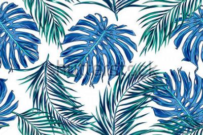 Fototapeta Piękny bezszwowy wektorowy tropikalny kwiecisty deseniowy tło z palmowymi liśćmi, dżungli rośliny