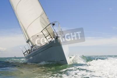 Fototapeta Piękny biały jachtów wyścigowych blisko kamery w jasny słoneczny dzień