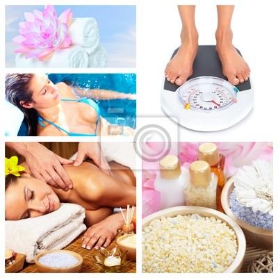Piękny kolaż masaż Spa.
