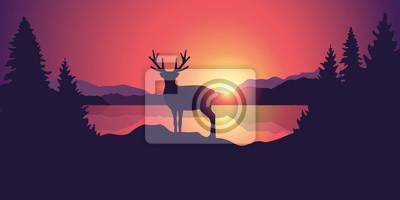 Fototapeta piękny krajobraz dzikiej przyrody z reniferowymi jeziornymi górami i lasem przy zmierzch wektorową ilustracją EPS10
