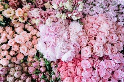 Fototapeta Piękny kwitnący kwietnik ze świeżo dostarczonych kwiatów w kwiaciarni: piwonie, róże, jaskier, tulipany, goździki, eustoma lisianthks, hortensja w delikatnych różowych kolorach, widok z góry