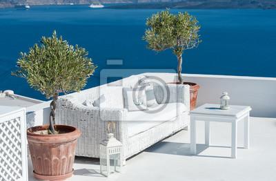 Oryginał Fototapeta Piękny taras na Santorini na wymiar • widok, charakter CP49