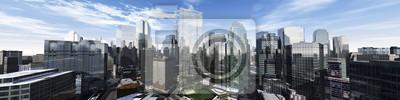 Fototapeta Piękny widok drapaczy chmur, nowoczesny krajobraz miasta, renderowania 3d