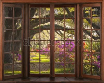 Fototapeta Piękny widok na naturę z okna. Ilustracja 3D