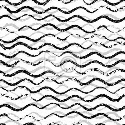 Piękny wzór z faliste pociągnięcia pędzlem. Czarno-białe monochromatyczne tło. Ozdobny nadruk na t-shirty. Ornament do pakowania papieru