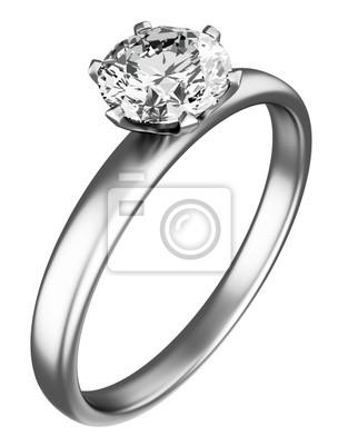 Fototapeta Pierścionek z diamentem na białym tle