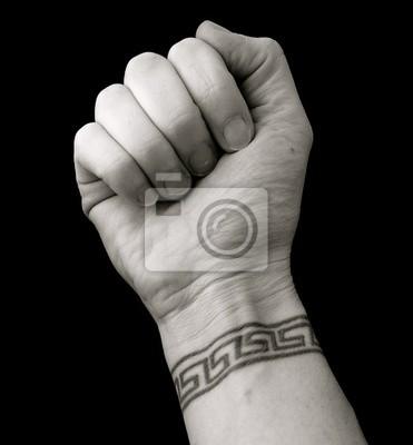 Fototapeta Pięść Na Nadgarstku Tatuaż Wzór Klucza Grecka Na Wymiar