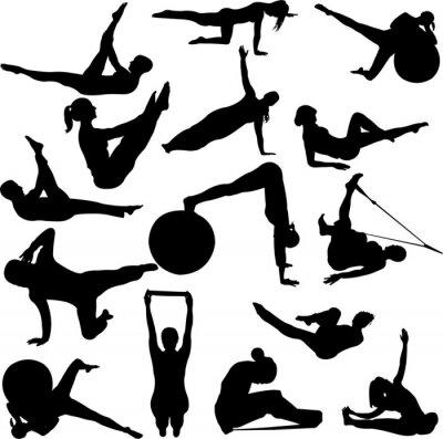 Fototapeta pilates kobiet sylwetki - wektor