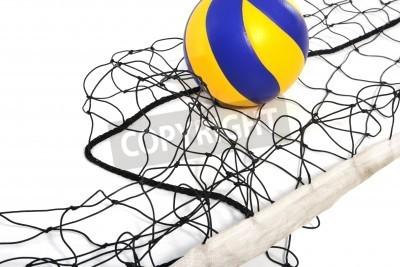 Fototapeta Piłka do siatkówki i siatkówki netto w białym tle