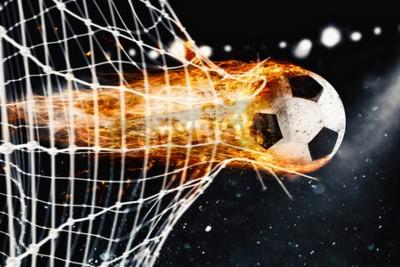 Fototapeta Piłka nożna w piłce nożnej zdobywa bramkę w siatce