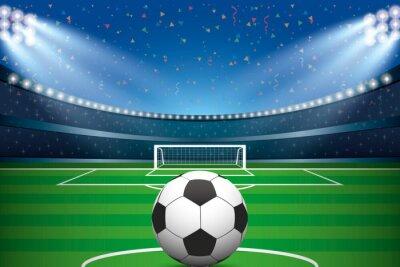 Fototapeta Piłka nożna z stadionu piłkarskiego i konfetti tle.