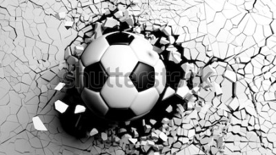 Fototapeta Piłka przebija z wielką siłą przez białą ścianę. 3d ilustracji.