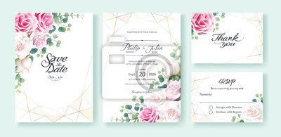 Pink And White Rose Flowers Wedding Invitation Save The Date Fototapety Redro