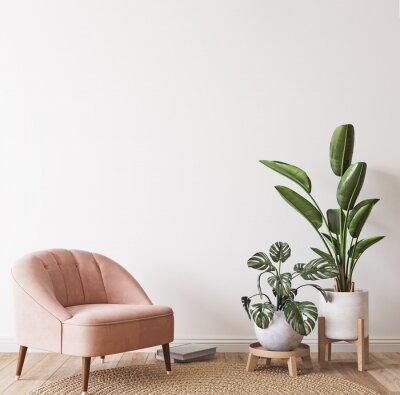 Fototapeta Pink armchair and green plants bright modern room on minimal empty background, wall mockup, 3d render
