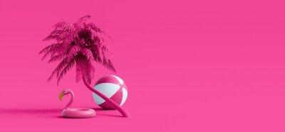 Fototapeta Pink flamingo and palm tree on pink summer background 3D Rendering, 3D Illustration