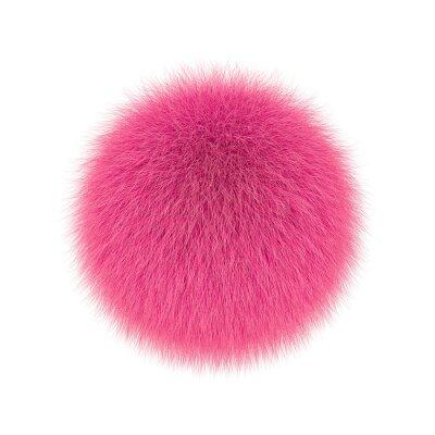 Fototapeta Pink fluffy ball, fur pompon isolated on white