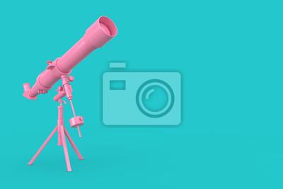 Fototapeta Pink Modern Mobile Telescope on Tripod. 3d Rendering