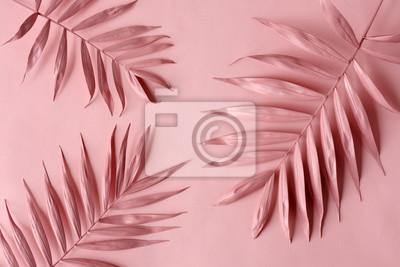 Fototapeta pink palm leaves