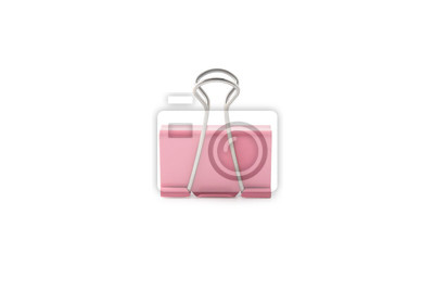 Fototapeta Pink paper clip isolated on white background with clipping mask.