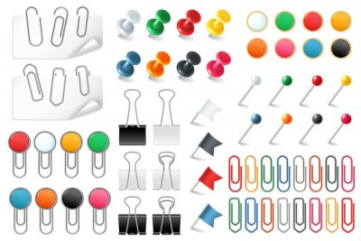 Fototapeta Pins paper clips. Push pins fasteners staple tack pin colored paper clip office organized announcement, realistic vector set
