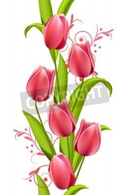 Fototapeta Pionowe bez szwu z tulipanami