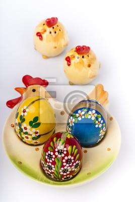 Fototapeta Pisanki na kurę ceramicznych takich jak płytki.