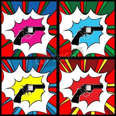 Fototapeta Pistolet Pop-art, clipartów ilustracja, ikony