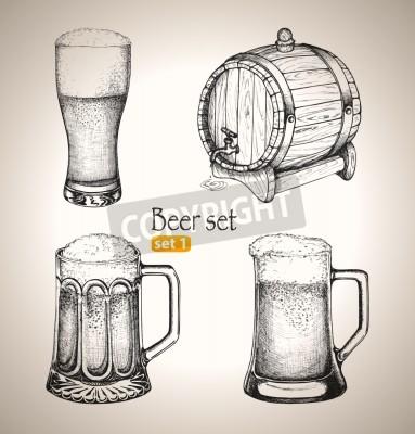 Fototapeta Piwo ustawić elementy szkicu Oktoberfest festiwal Ręcznie rysowane ilustracji wektorowych Set 1