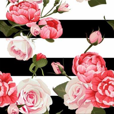 Fototapeta Piwonia i róż wektor wzór # 2 Kwiecista tekstura na czarno-białe paski tło