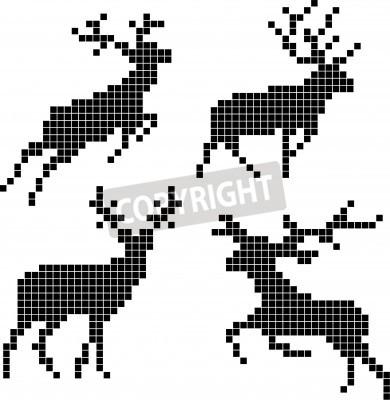 Fototapeta Pixel silhouettes of deers