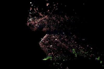 Fototapeta pixelated design of woman  sprinter leaving starting blocks