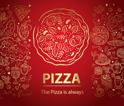Fototapeta Pizza menu design