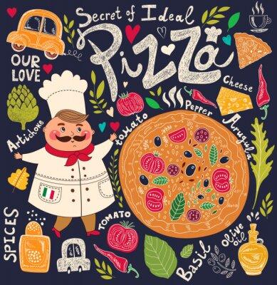 Fototapeta Pizza menu design z kuchni