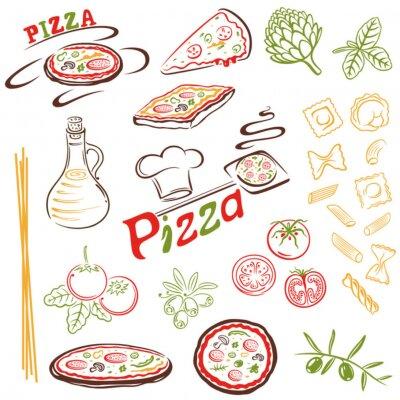 Fototapeta Pizza, Nudeln, Spaghetti, makarony, vector, Italien, Ustaw