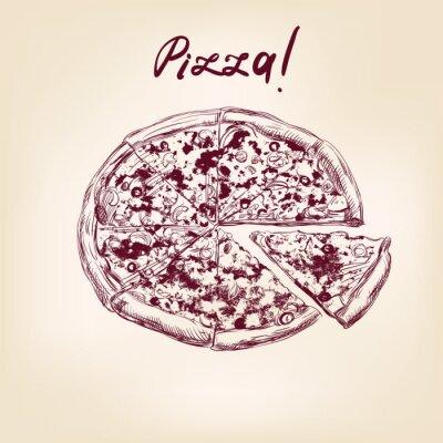 Fototapeta Pizza wyciągnąć rękę wektor llustration realistyczny szkic