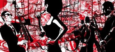 Plakat jazzowy saksofon, kontrabas i bęben