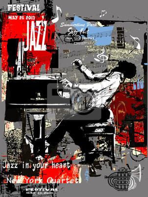 Plakat jazzowy z pianistą na tle grunge