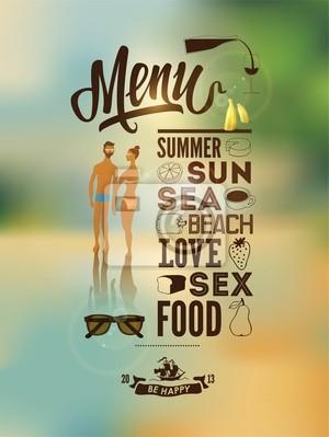 Plakat menu z garbowane młodych ludzi.