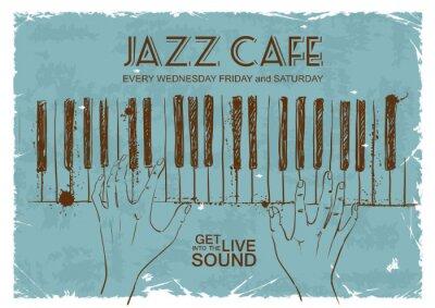 Fototapeta Plakat z ludzkich rąk gry na fortepianie
