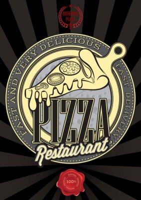 Fototapeta Plakat z pizzy godło oraz napis