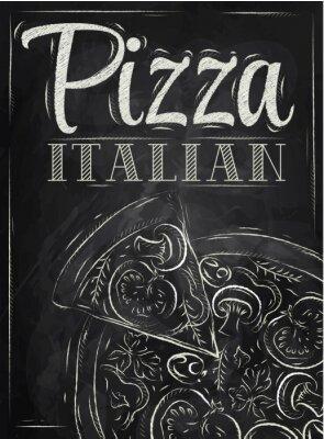 Fototapeta Plakat z pizzy i kawałek kredy do pizzy