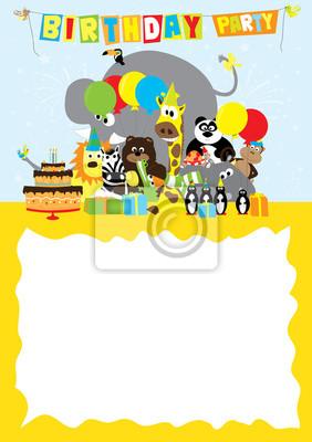 Fototapeta Plakat Zaproszenie Urodzinowe Z Dzikich Zwierząt I