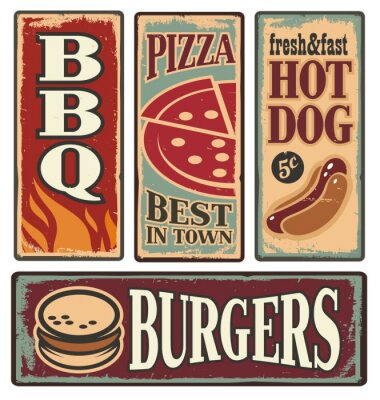 Fototapeta Plakietki emaliowane w stylu vintage fast food
