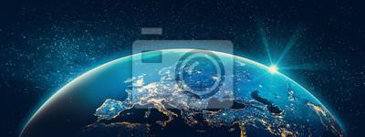 Fototapeta Planet Earth - światła miasta Europy