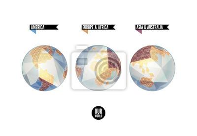 Planet w trzech pozycjach. Świat tło w stylu origami.