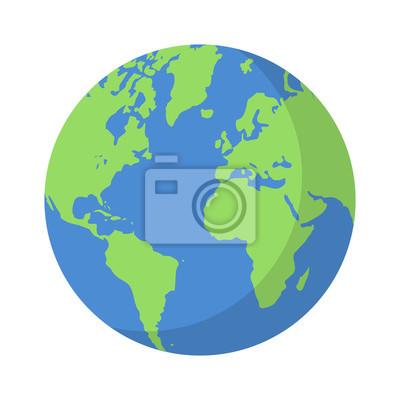 Fototapeta Planeta Ziemia lub kuli ziemskiej z oceanów i wody wektor płaski ikonę kolorów dla aplikacji i stron internetowych