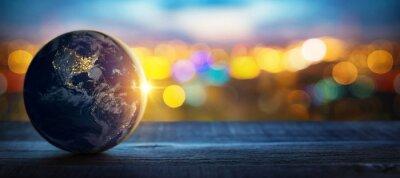 Fototapeta Planeta Ziemia na tle niewyraźne światła miasta. Pojęcie biznesu, polityki, ekologii i mediów. Elementy tego zdjęcia dostarczone przez NASA