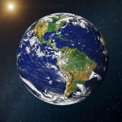 Fototapeta Planeta Ziemia sobre la via lactea