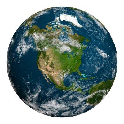 Fototapeta Planeta Ziemia z chmurami. Ameryka Północna.